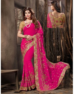 Georgette Rani Colour Attractive Saree  - 18052