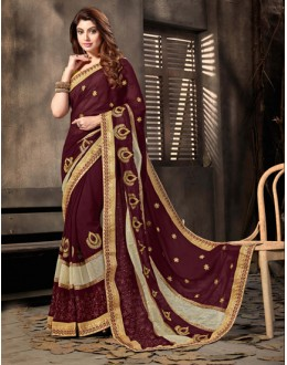 Ethnic Wear Brown Georgette Saree  - 18053
