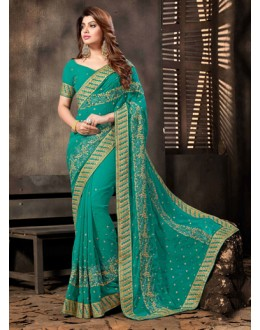 Ethnic Wear Green Georgette Saree  - 18055