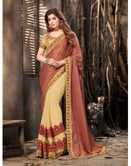 Traditional Maroon & Gold Half & Half Saree  - 18056