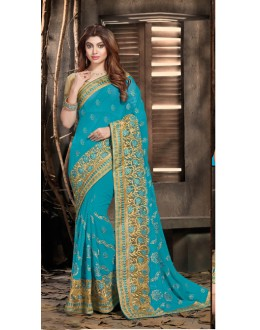 Ethnic Wear Blue Georgette Saree  - 18057