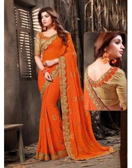 Orange Colour Chiffon Embroidery Saree  - 18058