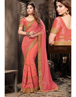 Festival Wear Peach Lycra Net Saree  - 18060