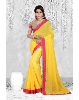 Casual Wear Yellow Georgette Saree  - 18062