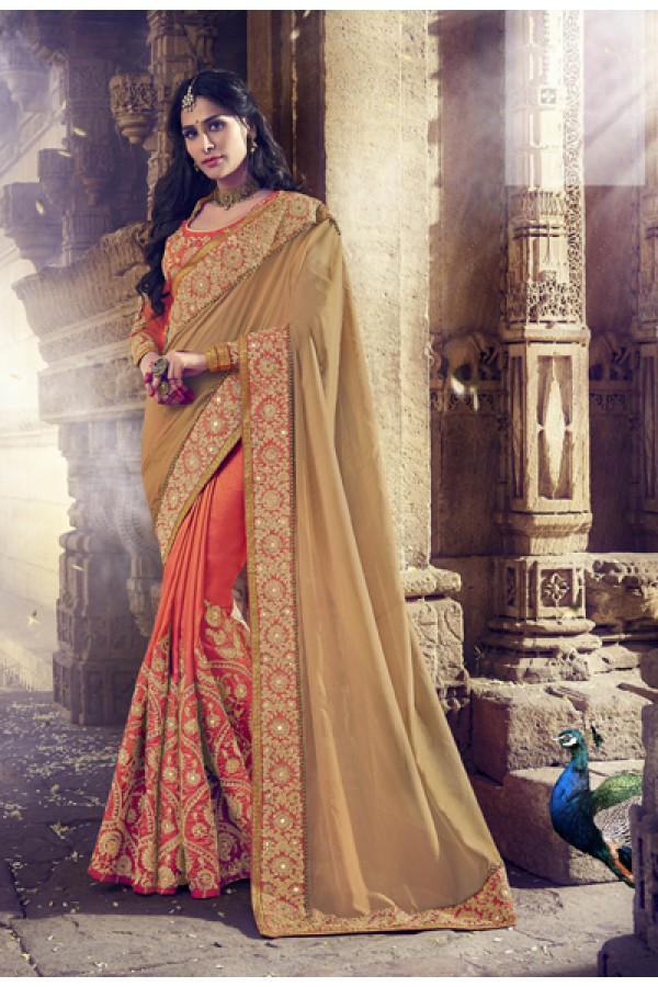Party Wear Beige & Orange Silk Saree  - 18071