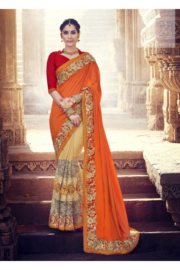 Designer Orange & Beige Two-Tone Silk Saree  - 18074