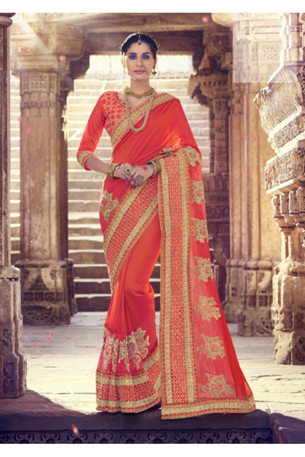 Ethnic Wear Orange Two-Tone Silk Saree  - 18075