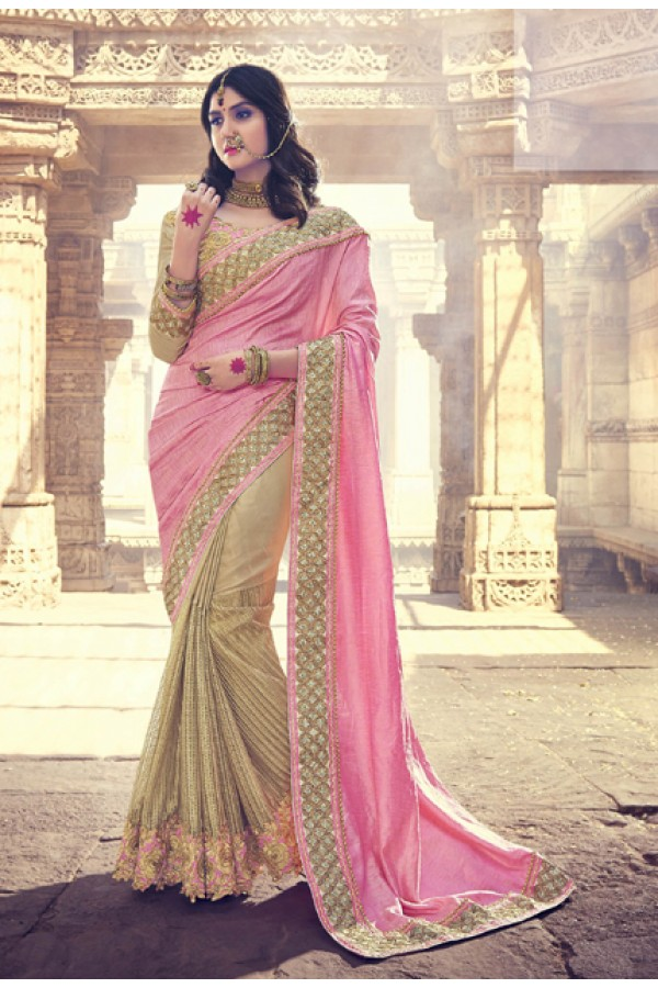 33dd28a549 Traditional Pink & Golden Embroidery Saree - 18076