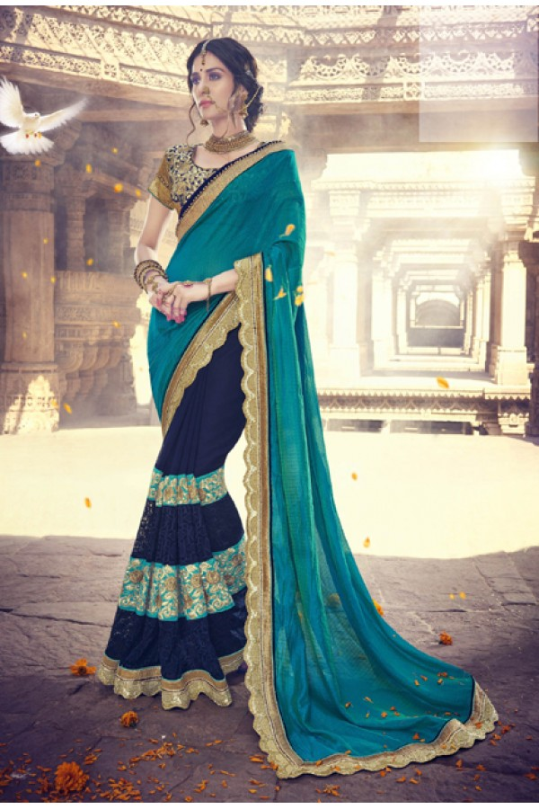 Festival Wear Multi-Colour Georgette Saree  - 18082