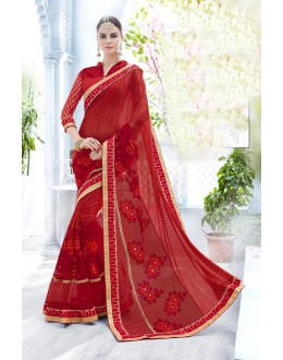Ethnic Wear Red Net Saree  - 18090