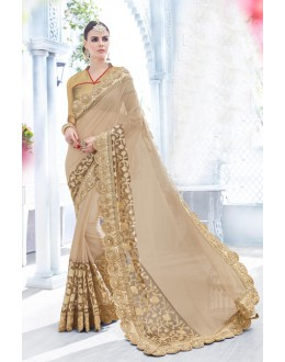 Party Wear Beige Fancy Saree  - 18091
