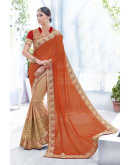 Orange Colour Chiffon Designer Saree  - 18094