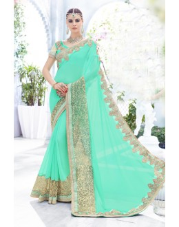 Ethnic Wear Greenish Blue Georgette Saree  - 18096