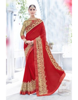 Ethnic Wear Red Chiffon Saree  - 18097