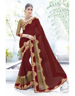 Traditional Maroon Fancy Saree  - 18100