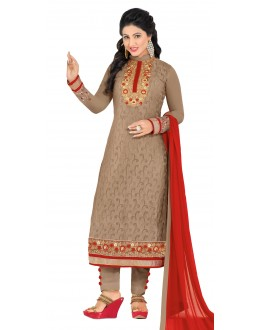 Hina Khan In Brown Georgette Salwar Suit - 18104