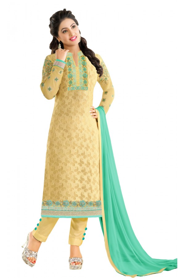 Hina Khan In Yellow Georgette Salwar Suit - 18109