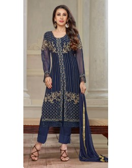 Karishma Kapoor In Dark Blue Georgette Salwar Suit  - 18119