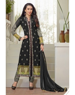 Karishma Kapoor In Black Georgette Salwar Suit  - 18120