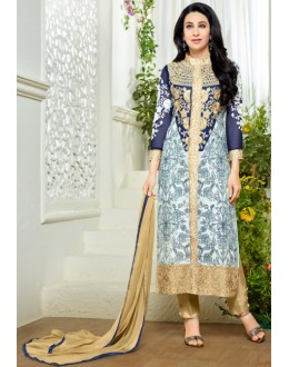 Karishma Kapoor In Light Blue Georgette Salwar Suit  - 18130