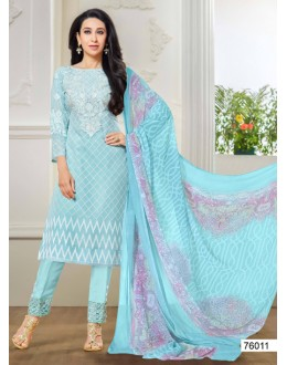 Karishma Kapoor In Light Blue Georgette Salwar Suit  - 18135