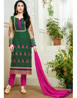 Karishma Kapoor In Green Georgette Salwar Suit  - 18136