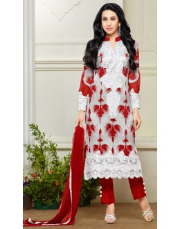 Karishma Kapoor In White Georgette Salwar Suit  - 18137