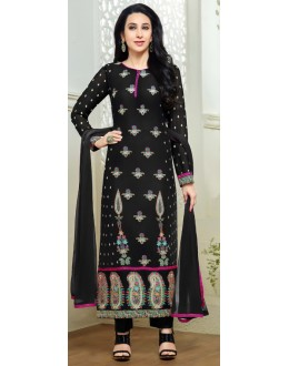 Karishma Kapoor In Black Georgette Salwar Suit  - 18138