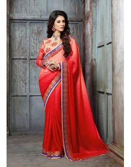 Party Wear Red Georgette Saree  - 18140