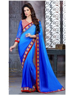 Party Wear Blue Georgette Saree  - 18144