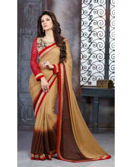 Beige Colour Georgette Embroidery Saree  - 18145