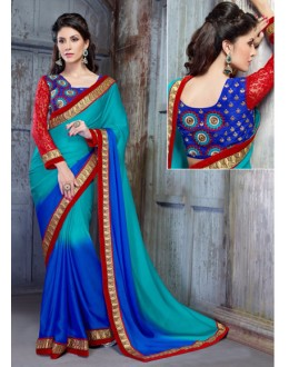 Traditional Blue Georgette Saree  - 18147