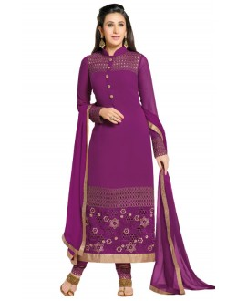 Karishma Kapoor In Purple Georgette Salwar Suit  - 18175