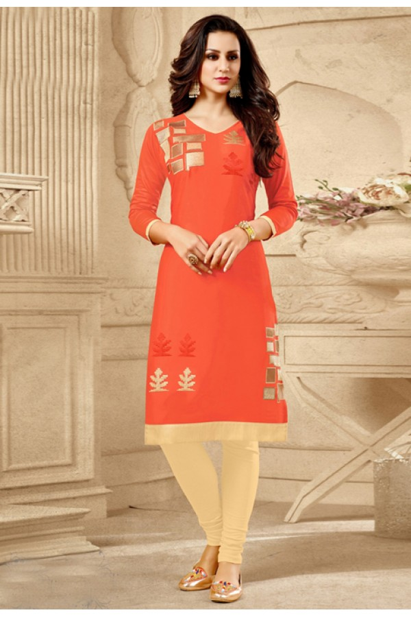 Office Wear Readymade Orange Kurti - 18181