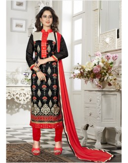 Party Wear Black Chanderi Salwar Suit - 18334