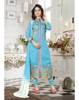 Ethnic Wear Sky Blue Chanderi Salwar Suit - 18335