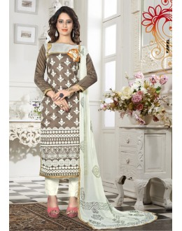 Brown Colour Chanderi Embroidery Salwar Suit - 18336