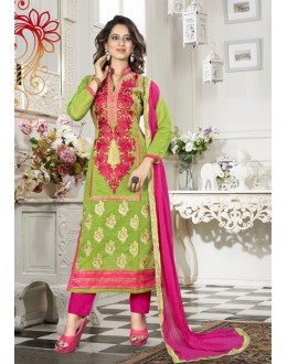 Festival Wear Green Chanderi Salwar Suit - 18337