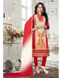 Festival Wear Cream Chanderi Salwar Suit - 18338