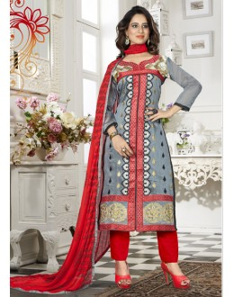 Party Wear Grey Chanderi Salwar Suit - 18339