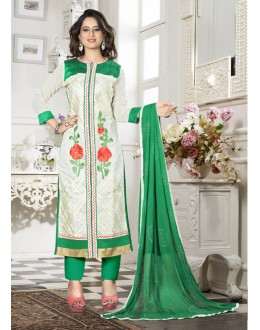 Ethnic Wear White Chanderi Salwar Suit - 18340