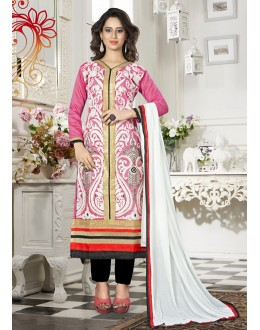 Party Wear Pink Chanderi Salwar Suit - 18341