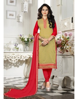 Office Wear Green Chanderi Salwar Suit - 18342