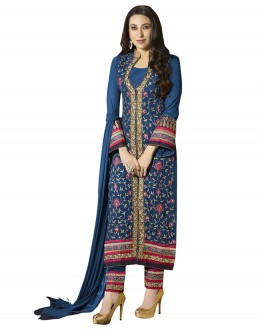 Karishma Kapoor In Blue Faux Georgette Salwar Suit - 18349