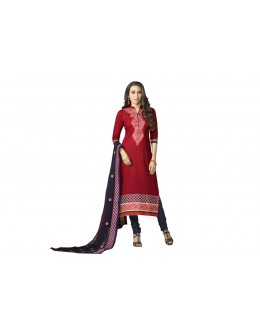 Karishma Kapoor In Red Pure Cotton Salwar Suit - 18350