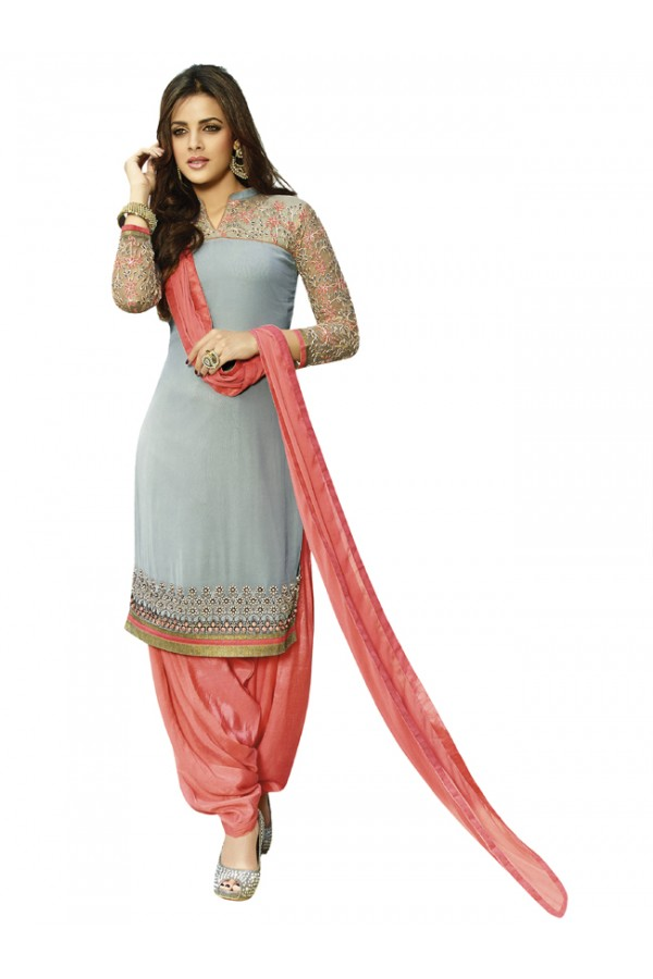 Festival Wear Grey Georgette Patiyala Suit - 18351