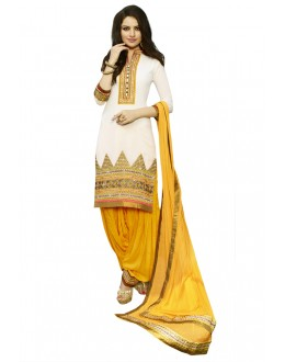Party Wear White Georgette Patiyala Suit - 18352