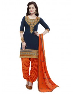 Festival Wear Navy Blue Cotton Patiyala Suit - 18355