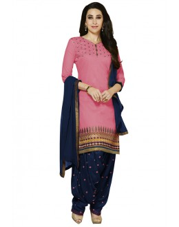 Karishma Kapoor In Pink Pure Cotton Cambric Patiyala Suit - 18359