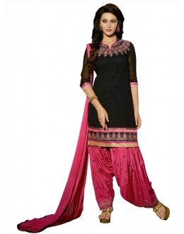 Black Colour Pure Georgette Patiyala Suit - 18360